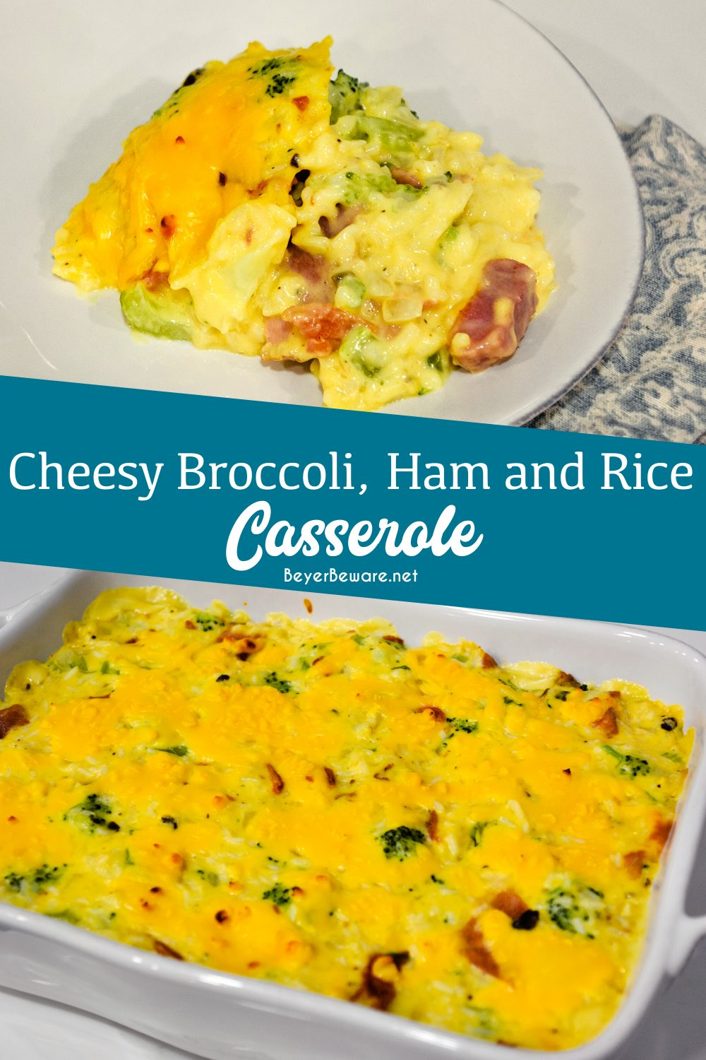 Cheesy ham, broccoli, and rice casserole was a delicious switch to a traditional chicken casserole.