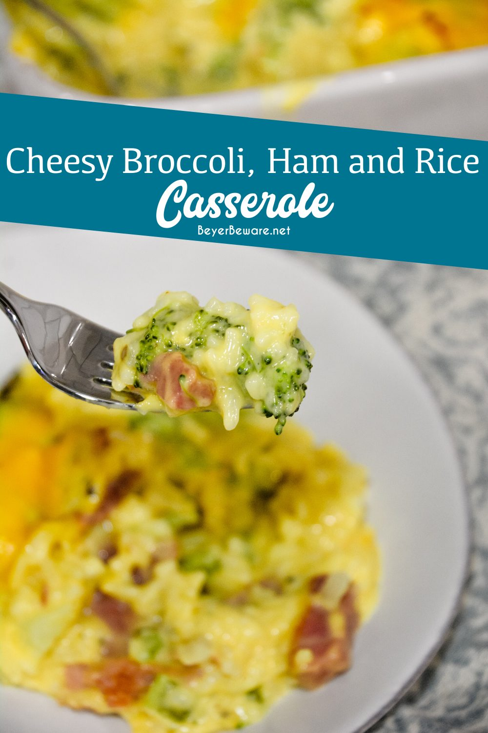 Cheesy ham, broccoli, and rice casserole quickly combined steamed broccoli and cauliflower, diced onions and celery, minute rice, and creamy cheese sauce. Baked for a quick 30 minutes for an easy dinner recipe. #Casseroles #Ham #Cheese #EasyDinners #Leftover