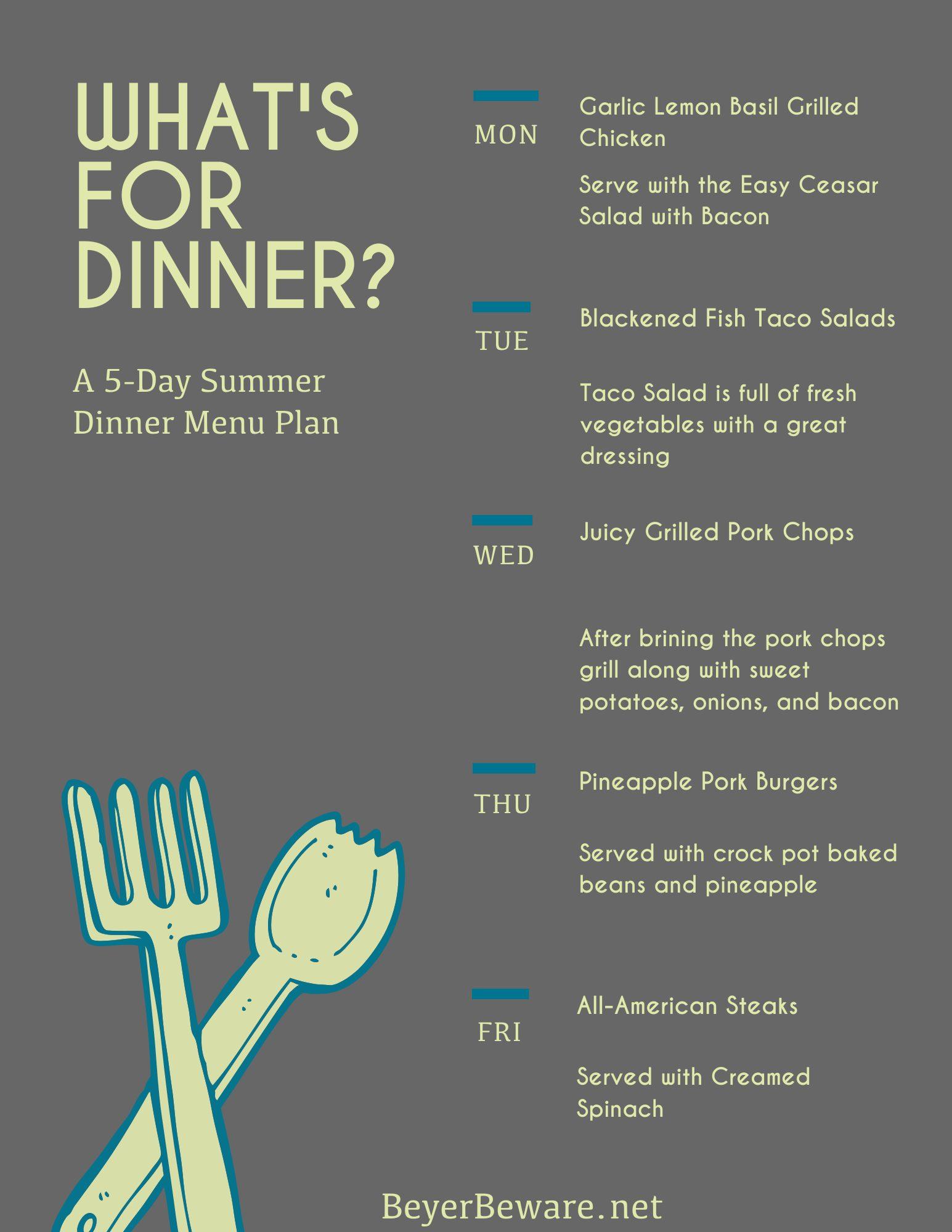 Summer Dinner Plan