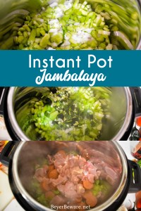 Instant Pot Jambalaya is a quick cajun recipe with spicy andouille sausage, chicken, shrimp, and rice pressure cooked in onions, celery, peppers, garlic, tomatoes, and creole seasonings.