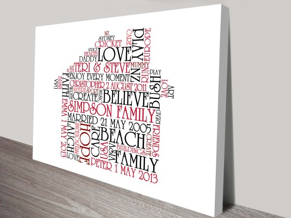 Personalised Artwork Collage of Words Prints Australia
