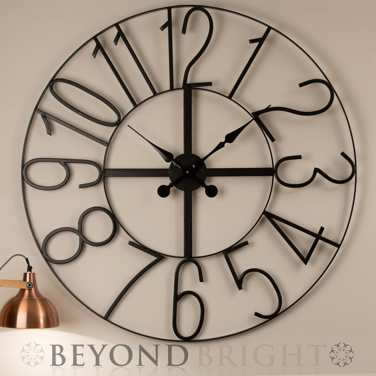 Large Wall Clock 100cm NUMBERS Metal Industrial Iron