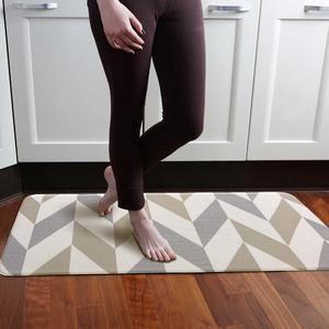 padded kitchen mats white backsplash waterproof reversible pvc mat 44x120cm beige herringbone