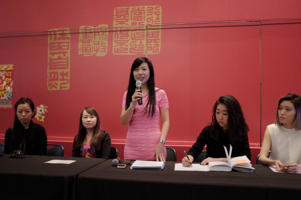 Charlin Chang, Education Director of TECO speaking in the press conference