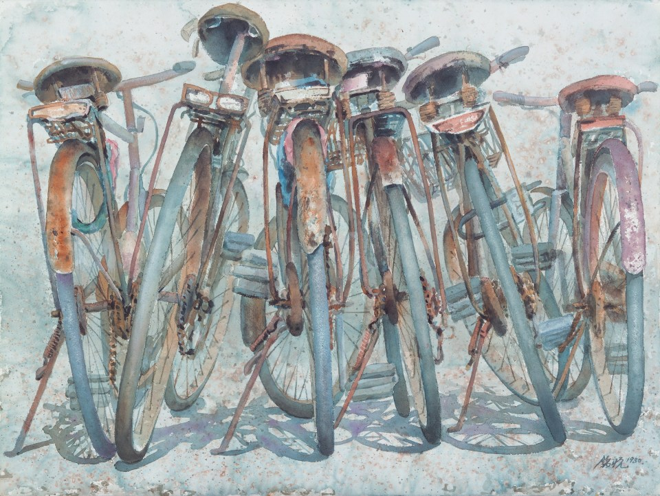 MingZhu Huang, The Bicycles, watercolor on paper, 1980