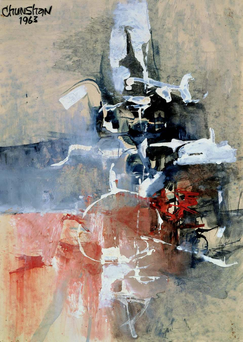 "Chun­Shan Lee, ""Abstract Painting"", watercolor on paper, 1963"
