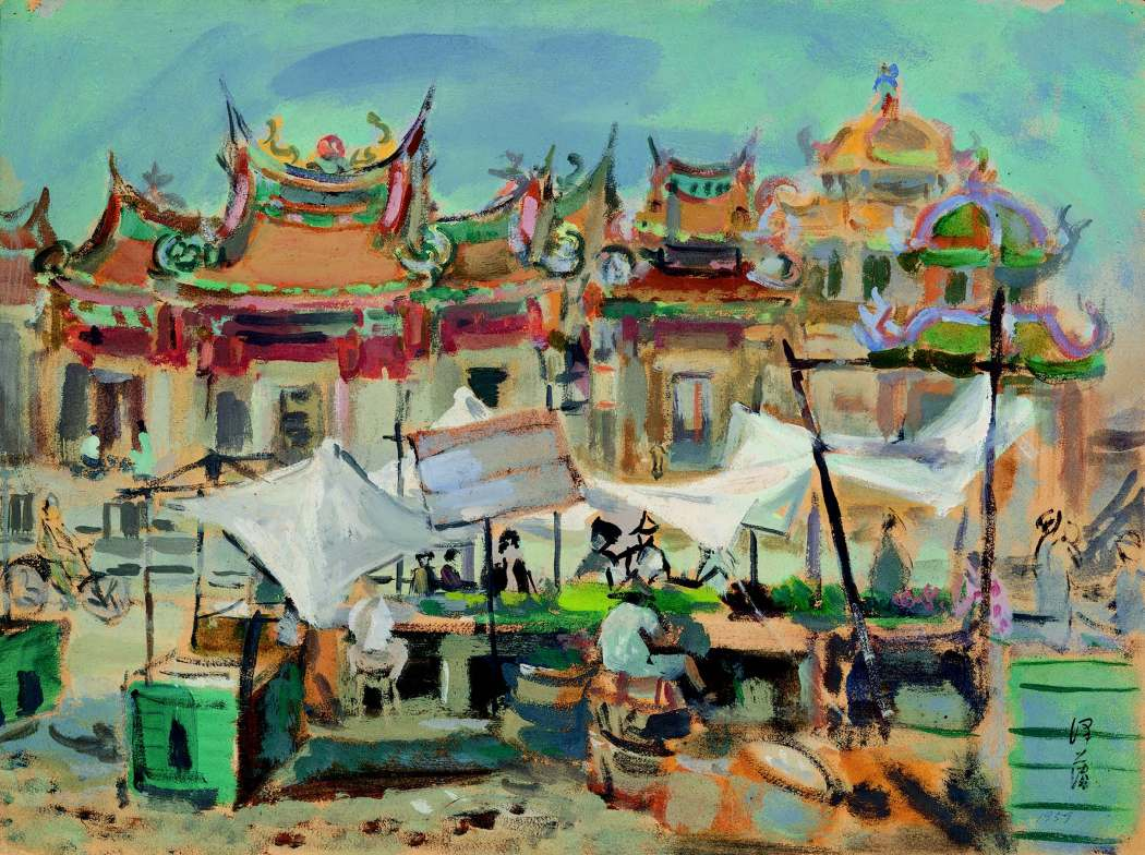 Lee%2cTze-Fan%2c City Deity Temple%2c 21.25×11.74inches%2c Watercolor on paper%2c 1959