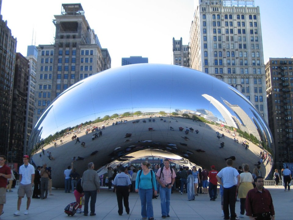 Kapoor's Cloud Gate.  Photo by Robert Occhialini, licensed through Creative Commons
