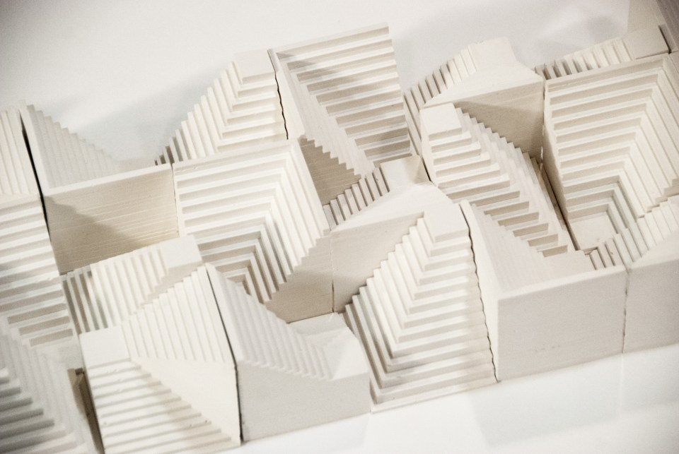 "Cheryl Wing-Zi Wong - 'Monumentality', Description: Installation of plaster sculptures, each 3"" x 3"" x 3"" (detail)"