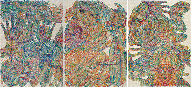 Ten Thousand Things, 2016. Hand dyed and waxed paper-cut, cotton thread, paper Set of 3, 110 1/4 x 78 3/4 in. each