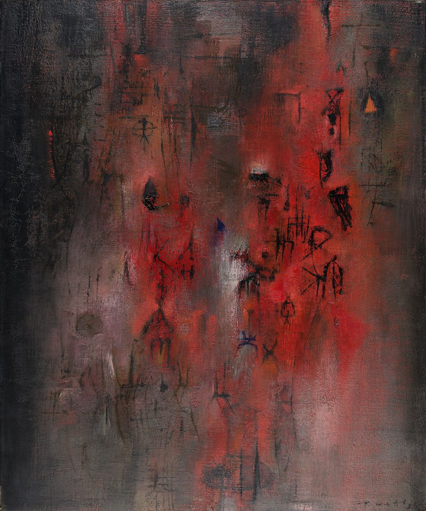 'Pavillon rouge' (Red Pavillion), 1954. Oil on Canvas, 15 1/2 x 21 1/4 in. (64.8 x 54 cm). Picker Art Gallery, Colgate University, Gift of Dr. Harvey Picker, 36, 1994.2.3 © Zao Wou-Ki ProLitteris, Zurich. Photograph: Picker Art Gallery, Colgate University. Courtesy of Asia Society.