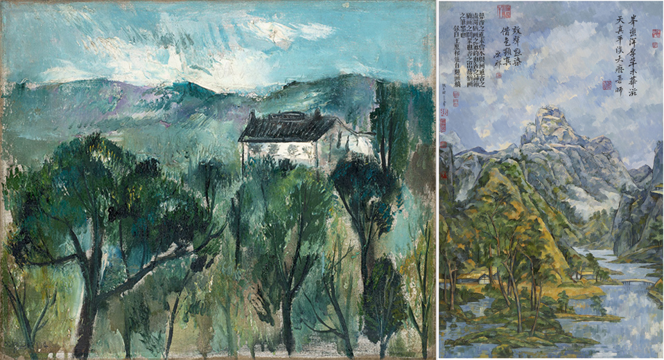 Two works influenced by Paul Cézanne - L: Zao Wou-Ki = 'Paysage à Hangzhou' (Landscape in Hangzhou), 1946. Oil on canvas. 15 × 18 1⁄8 in. (38 × 46 cm). Private collection, Switzerland. ©Zao Wou-Ki/ProLitteris, Zurich. Photography by Antoine Mercier. Courtesy of Asia Society. R: Zhang Hongtu - 'Wang Yuanqi Cézanne #5', 2007. Oil on canvas, 72 X 45 1/4 in. (183 x 115 cm)