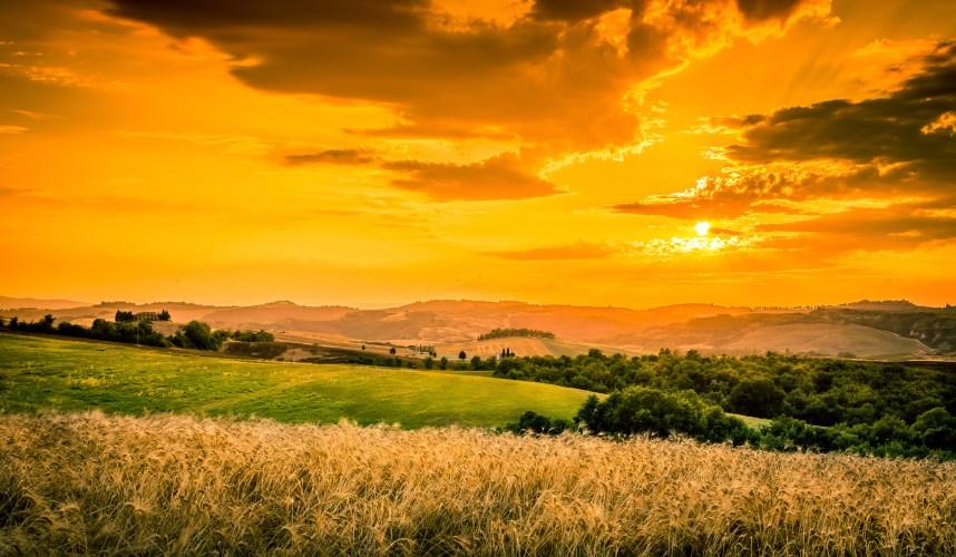 Amazing sunset and dramatic sky in Tuscany, Italy