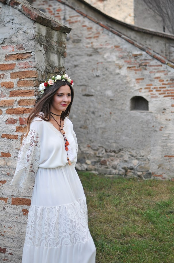 Iulia, the beautiful bride, in an authentic vintage dress