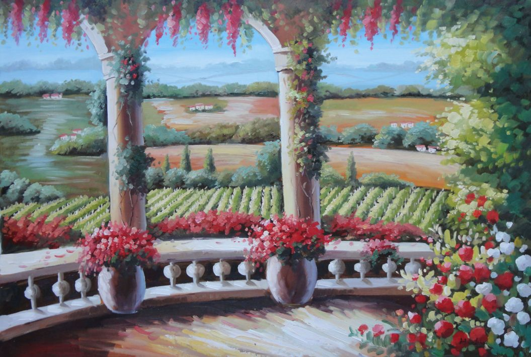 Tuscany Patio Surrounded by Vineyard Winery Oil Painting