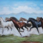 8 Running Horses On The Prairie Oil Painting Animal Naturalism 24 X 36 Inches With Frame