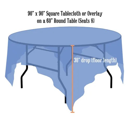 Linen Sizing Charts Discover What Size Tablecloths or Linens You