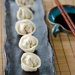 Korean dumplings with kimchi tofu pork fillings