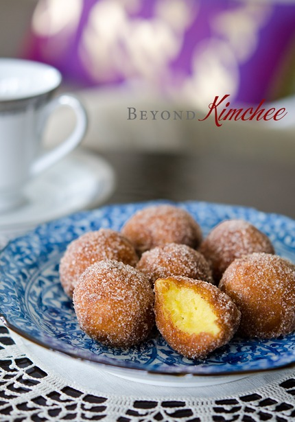 Sweet Potato Rice Donuts have soft and chewy texture inside.