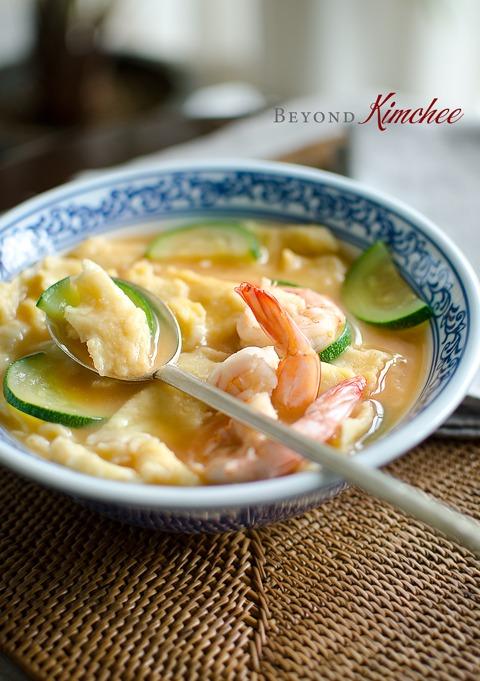 Corn Dumpling Soup with Shrimp