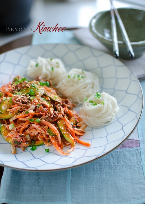 Spicy Korean Snail Salad is made with canned sea snail (golbangyi) and vermicelli noodles
