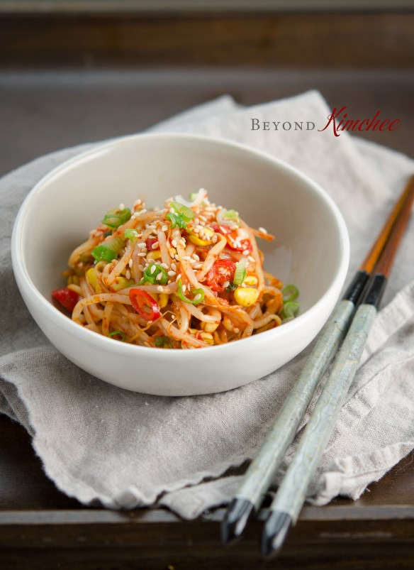Spicy Bean Sprout is a common Korean side dish