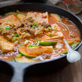 Beef Tofu Stew in a Skillet
