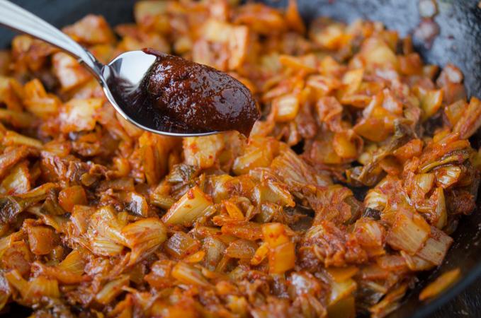 A little bit of gochujang makes kimchi fried rice tastes better