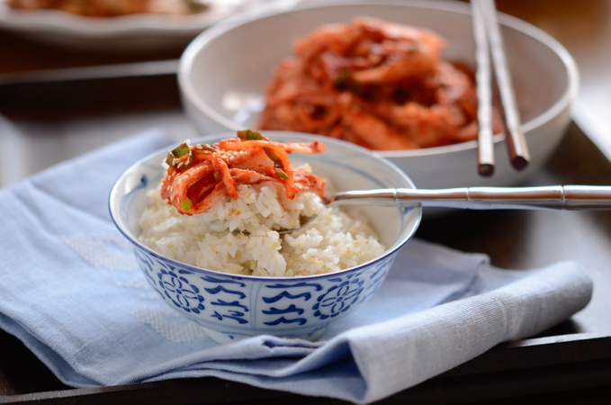Freshly made cabbage Kimchi is served with rice