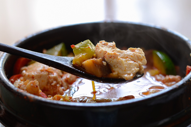 Spicy Soft Tofu Stew with Beef and Seafood