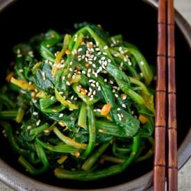 Rustic Korean Spinach (sigeumchi namul) made with doenjang and gochujang
