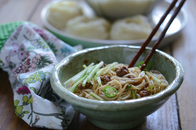 Korean Noodles with Beef Sauce are tossed with chopsticks