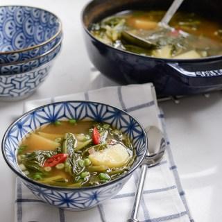 Turnip Green Potato Soup