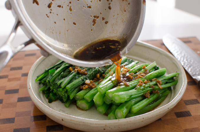 Hot garlic sauce pairs well with green vegetables.