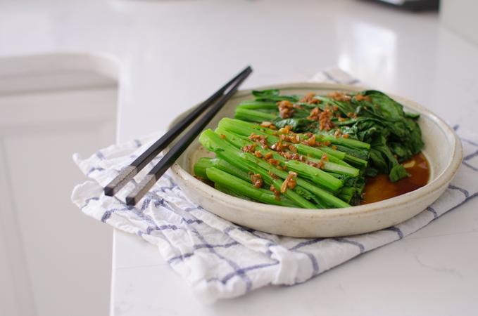 Serve choy sum with garlic sauce