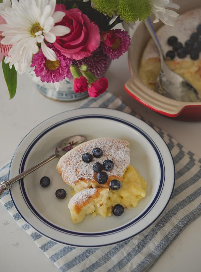 Light lemon cake and lemon pudding comes together in one pan