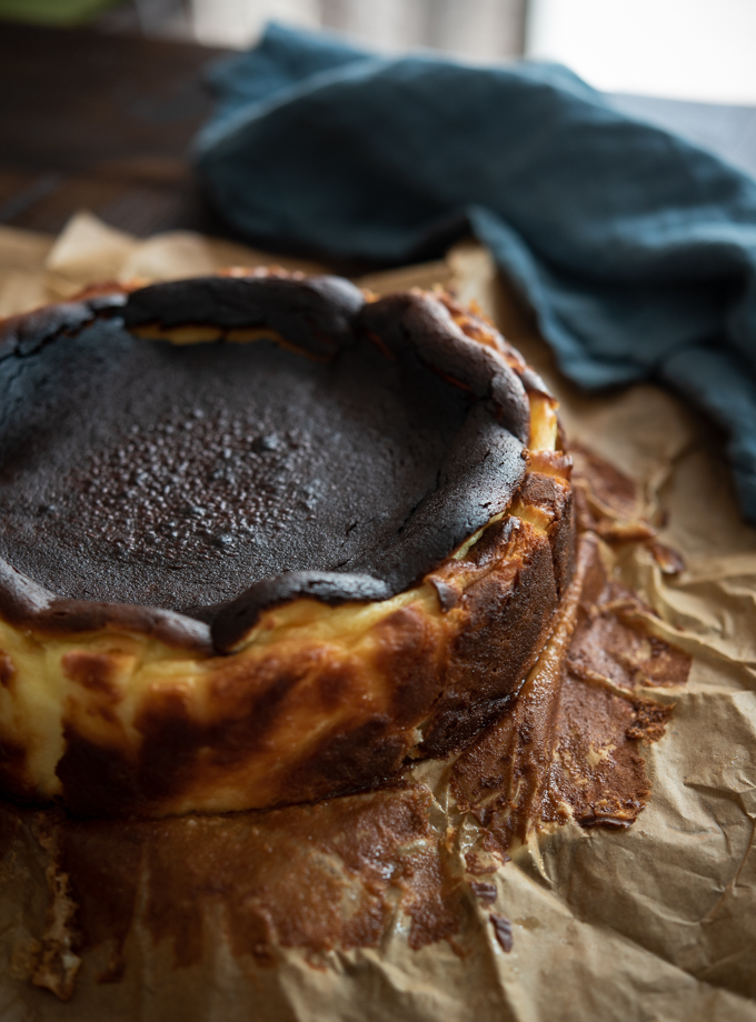 Basque style cheese cake has a unique burnt top look