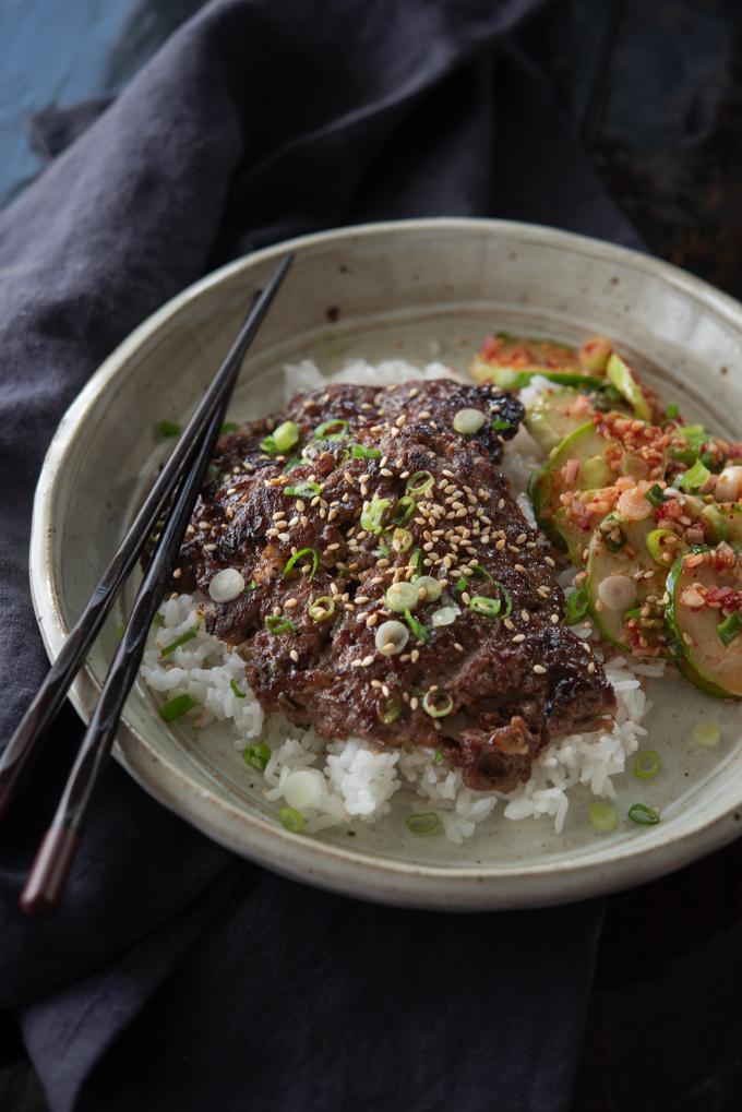Paper thin slices of Korean beef makes cripsy bulgogi
