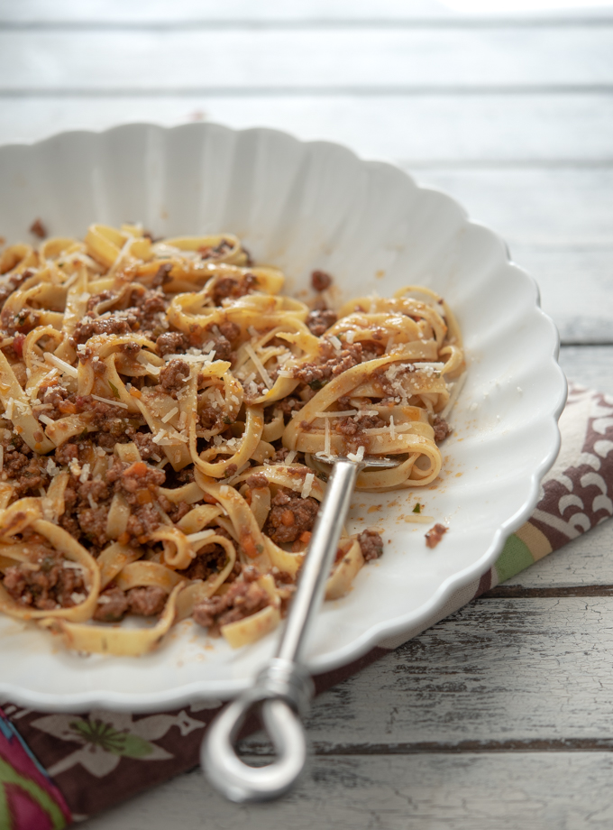 Ragu Bolognese Sauce is served with tagliatelle