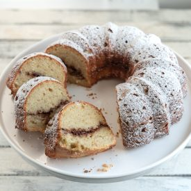 Apple cinnamon budt cake made with grated apples and walnut filling