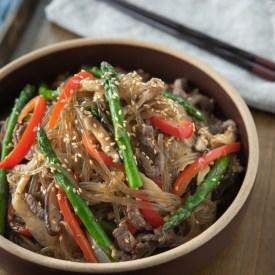 Korean Japchae with beef, asparagus, and mushroom