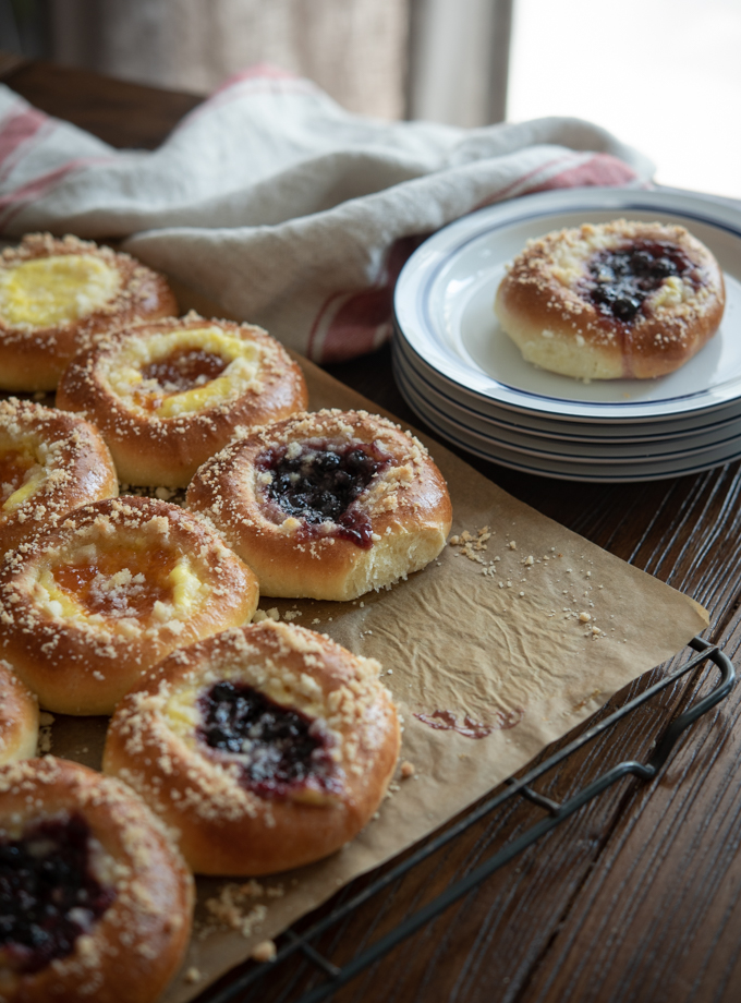 Czech Kolaches are filled with cheese filling and fruit jams