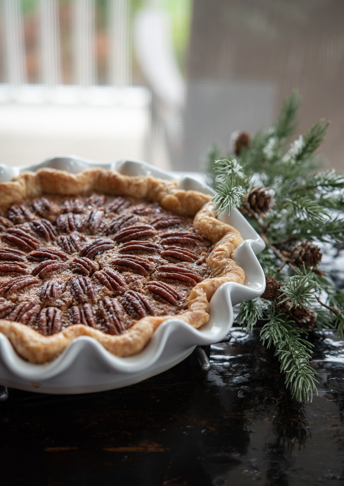 This pecan pie is baked without corn syrup