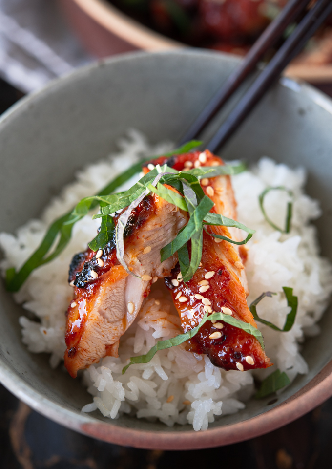 The moist and tender chicken thigh is best to serve with rice