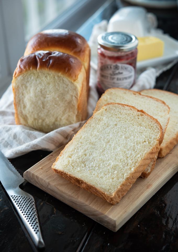 Soft Asian milk bread makes a beautiful breakfast toast.