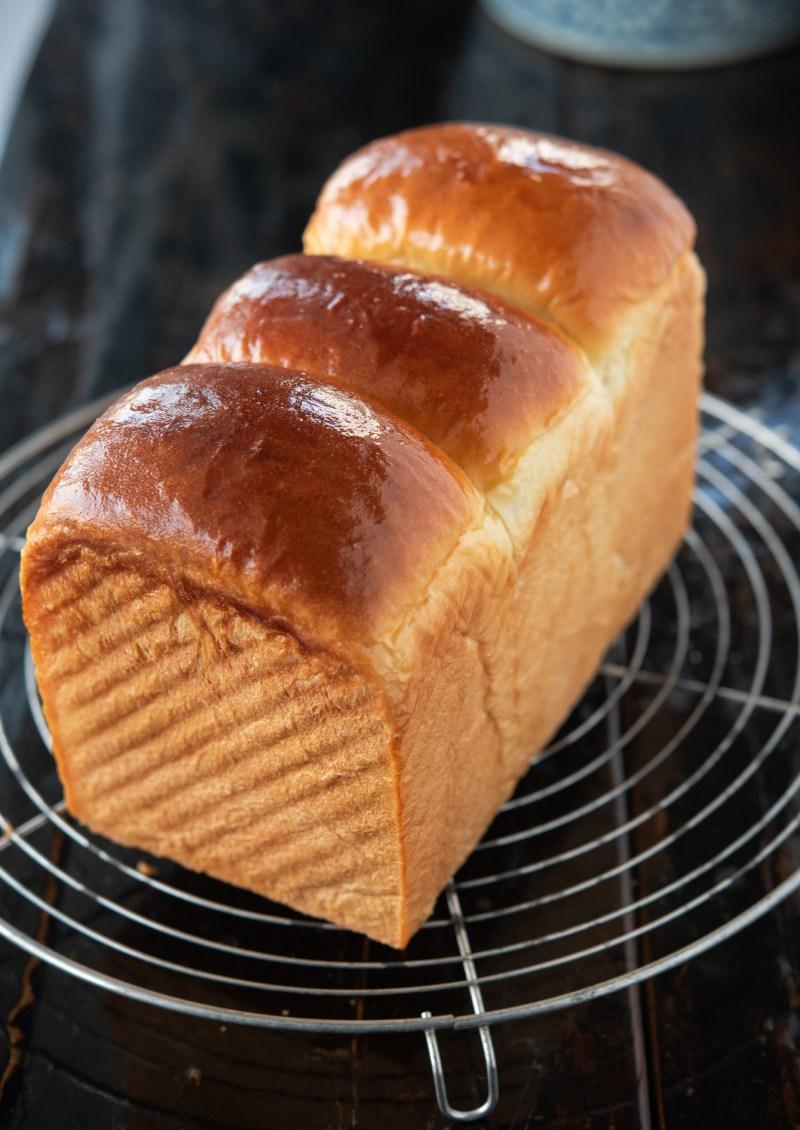 Nice golden brown crust is formed on milk bread