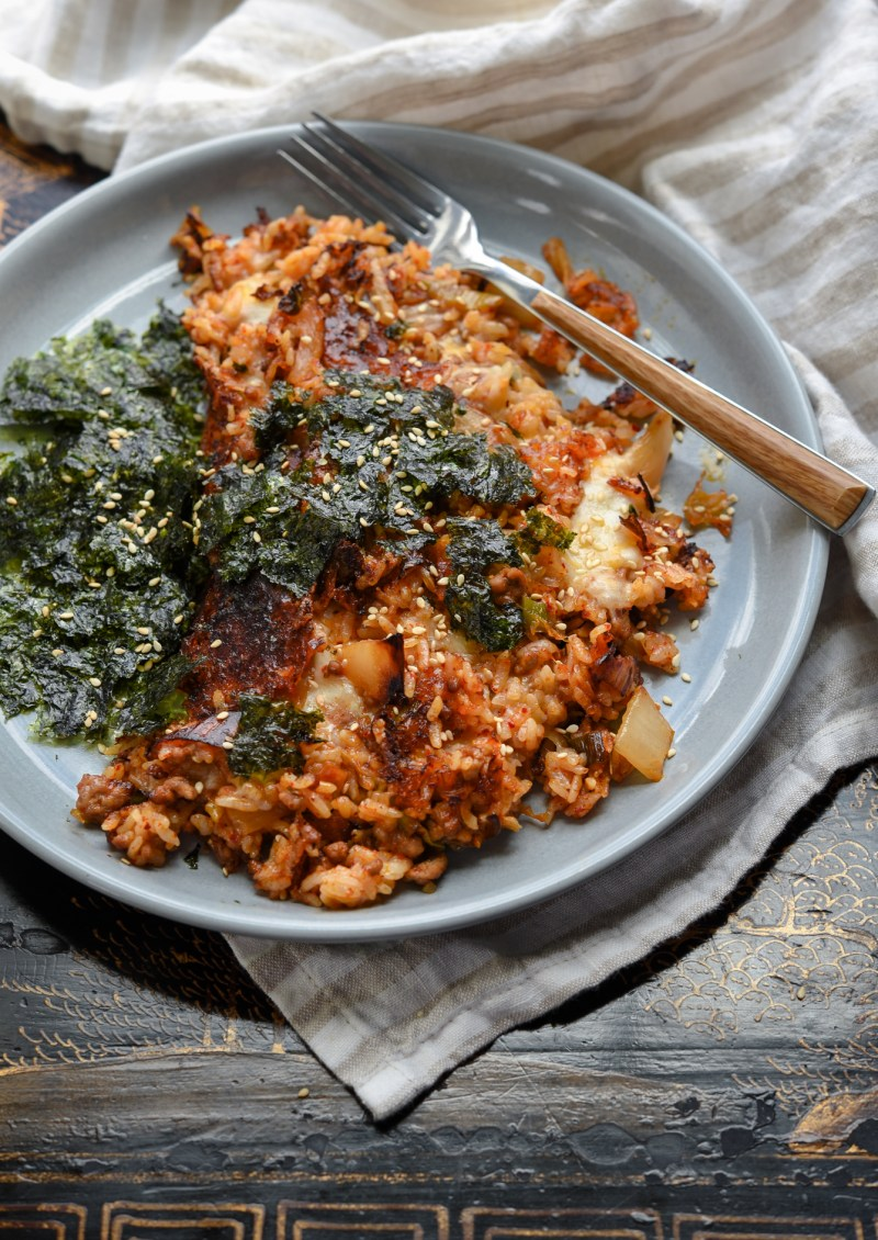 Using a cast iron skillet will help creating the crispy crust on kimchi fried rice