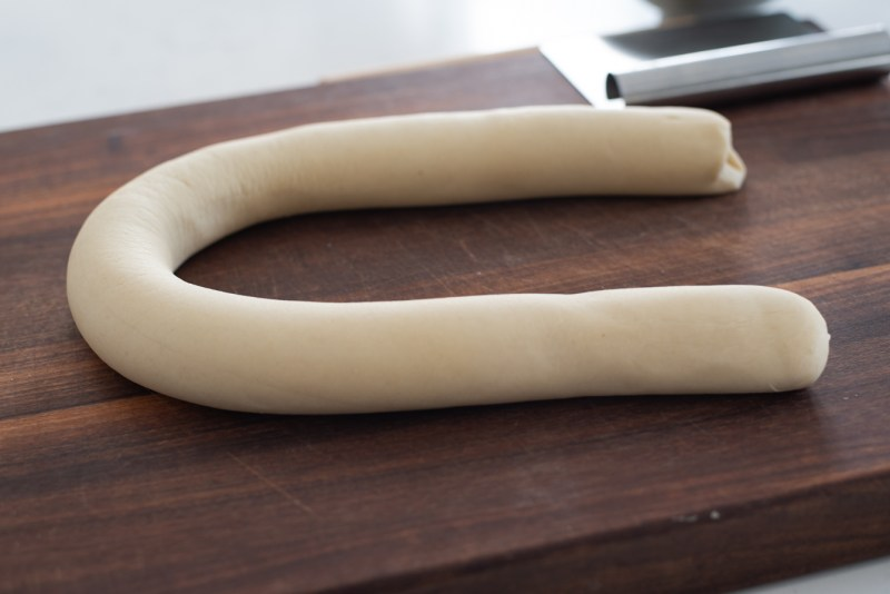 Roll the dough into a log with 1 1/2 inch diameter