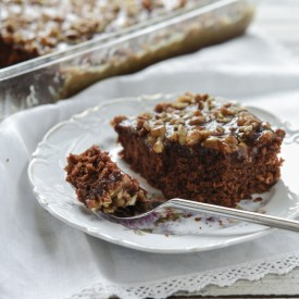 Chocolate oatmeal cake with pecan caramel frosting provides a soft and moist dessert