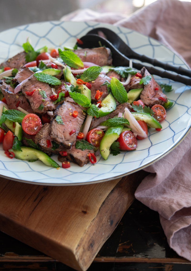Thai beef salad (Yum Nua) is served cold